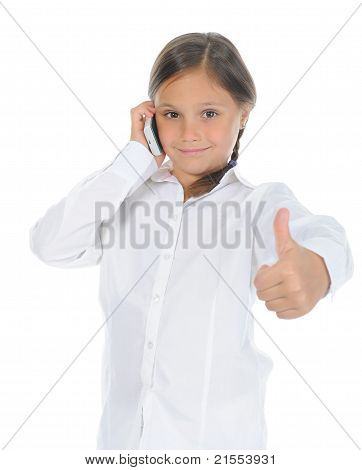 Cute little girl with thumbs up