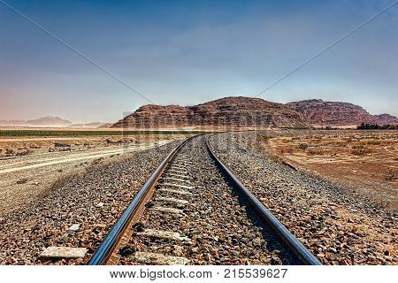 The Hejaz Railway Hicaz Demiryolu a narrow gauge railway that ran from Damascus to Medina through the Hejaz region of Saudi Arabia with a branch line to Haifa on the Mediterranean Sea. It was a part of the Ottoman railway network Wadi Rum desert Jordan