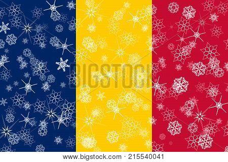 Chad winter snowflake flag, illustration Chad flag