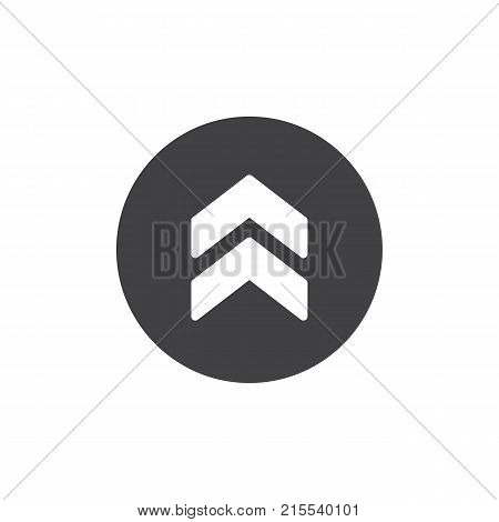Upper arrow icon vector, filled flat sign, solid pictogram isolated on white. Two arrows pointing up symbol, logo illustration.