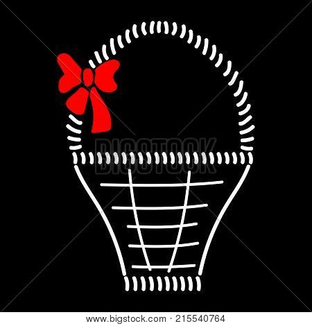 Basket with braid sign. Image of handmade weave. Color icon isolated on black background. Decorative wicker basket with red bow for gift. Logo for invitation or celebration. Stock vector illustration