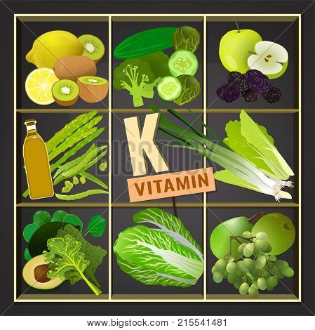 Foods containing vitamin K on a dark grey background. Source of vitamin K - vegetables, salads, greens, fruits, oils. Medical, healthcare and dietary creative concept. Vector illustration.