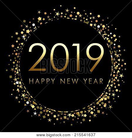 2019 happy new year background with number and golden glitter gold number 2019 and text