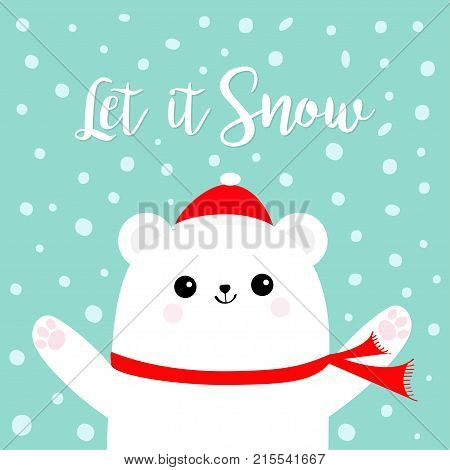 Let it snow. Polar white bear cub wearing red Santa Claus hat scarf. Head face paw print. Cute cartoon smiling baby character. Arctic animal collection Flat design Winter background Snow flake Vector