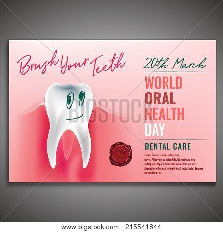 World oral health day poster idea with healthy smiling tooth image. Medical, dental and healthcare creative concept. Vector illustration in modern style with beautiful lettering.