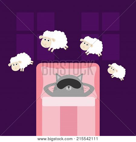 Cute gray cat sleeping mask. Jumping sheeps. Cant sleep going to bed concept. Counting sheep. Animal set. Baby collection. Blanket pillow room two windows. Flat design. Violet background. Vector