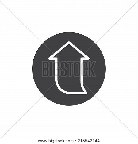 Upward arrow icon vector, filled flat sign, solid pictogram isolated on white. Symbol, logo illustration.