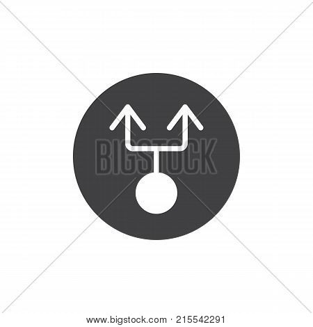 Double arrow from circle icon vector, filled flat sign, solid pictogram isolated on white. Two way symbol, logo illustration.