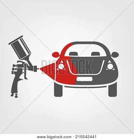 Airbrush with a paint spray painting a car. Vector illustration of a car body repair process. Automotive concept useful for a pictogram, icon, logotype or signboard design. Transportation collection