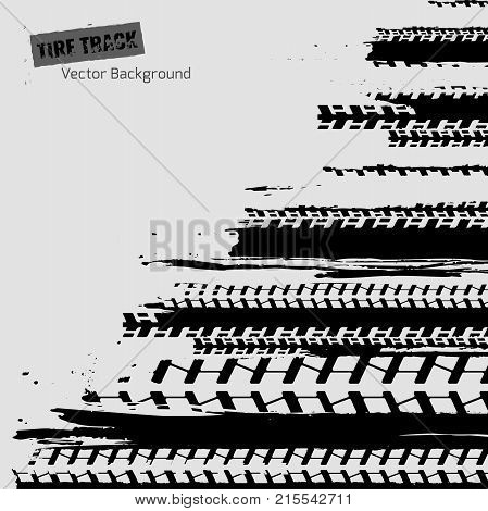 Tire tracks imprint texture. Dirty grunge off-road background. Graphic vector illustration useful for creating extreme rally, bike races materials. Editable graphic image in black and white color.