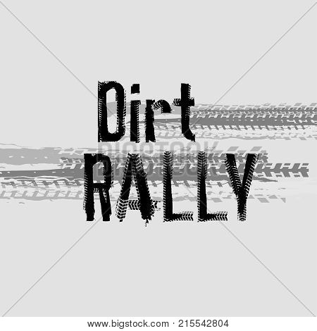 Off-Road dirt rally hand drawn grunge lettering. Tire tracks words made from unique letters. Beautiful vector illustration. Editable graphic element in white and black colours.