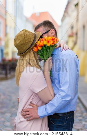 Love, Dating And Relationship Concept - Young Couple Kissing In The City