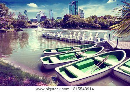 Bangkok . lumphini park. Lake and boats