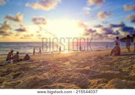 Travel to Thailand beach.Phuket sunset scenery.Seascape and relax time concept