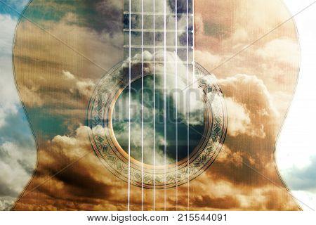 Acoustic guitar composition. Double exposure. Music concept design