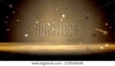 Close up scenery cement floor background and shimmering glitter
