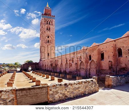 travel concept around the world.Koutoubia mosque Marrakech Morocco.Landmarks and architecture