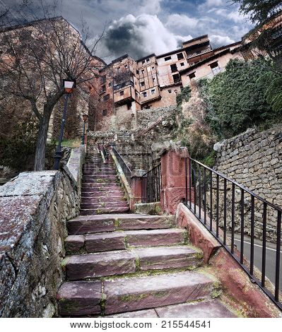 Village scenery. AlbarracinSpain. Old houses and architecture
