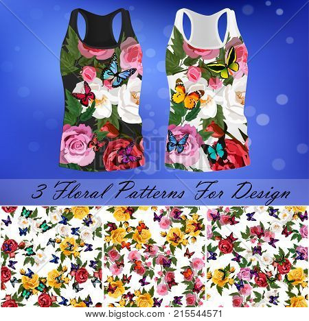 embroidery seamless rose and butterflies pattens with t-short template. Romantic textile set
