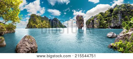 Scenery Thailand sea and island .Adventures and travel concept.Phuket and exotic ocean