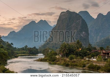 Beautiful sunrise over the Nam Song river near the Vang Vieng village, Laos
