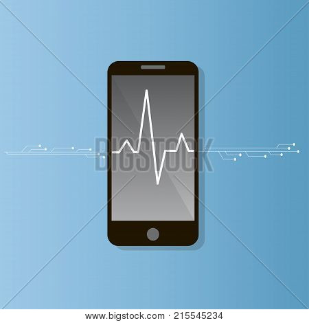 Pulse rate on the smart phone screen. health care collection. pulse or heart beat illustration
