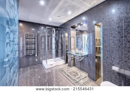 Modern interior bathroom design urban real estate.
