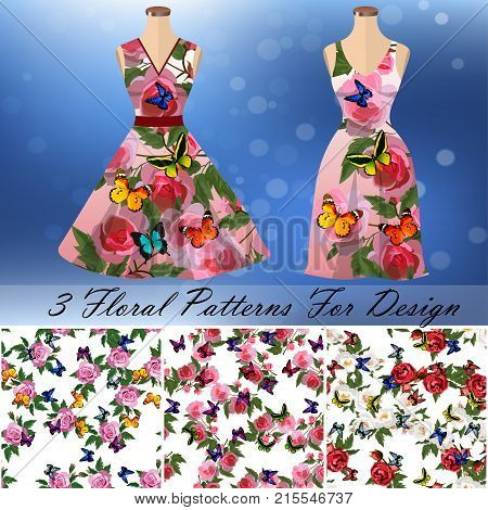 embroidery seamless rose and butterflies pattens with dress template. Romantic textile set. Summer dress or night dress design