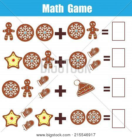 Math educational game for children. Counting equations. Addition worksheet. Christmas theme