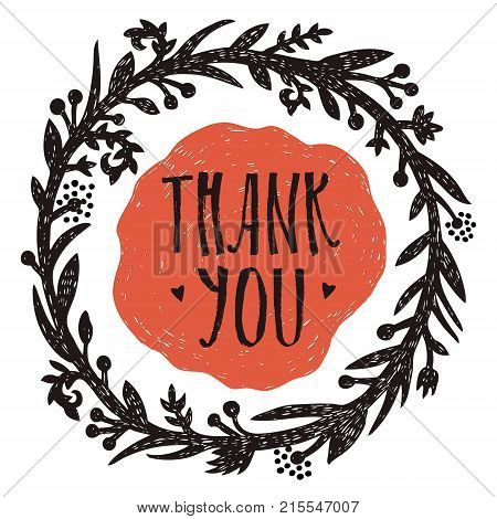 Thank you Vignette with love Design card Hand drawing style