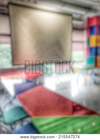 Abstract Blurred Background Of Empty Study Creative Room For Undergraduate Students For Lap. Blurry