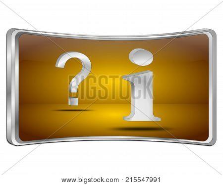 orange information and question button - 3D illustration