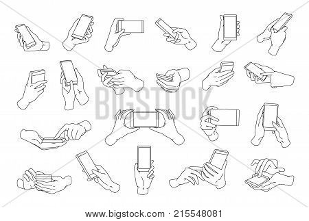 Collection of hands holding modern smartphone drawn with black contour lines. Bundle of outline drawings of palms and phones isolated on white background. Vector illustration in monochrome colors