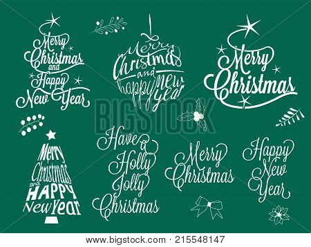 Merry Christmas and happy new year calligraphic lettering collection - vector set