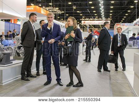 St. Petersburg, Russia - 3 October, Visitors to the gas forum, 3 October, 2017. Participants and visitors of the annual St. Petersburg Gas Forum.