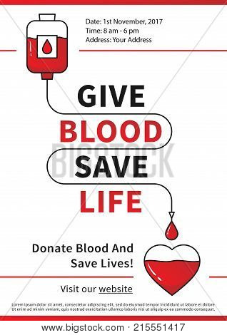 Blood Donation vector illustration with red heart and drop counter. Blood Donation line art concept with dropper and heart. Lifesaver campaign template with sample text graphic design.