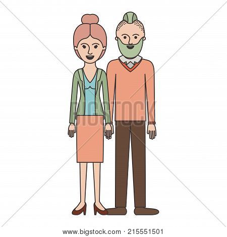 couple colorful silhouette and her with blouse and jacket and skirt and heel shoes with collected hair and him with beard and sweater and pants and shoes with taper fade haircut vector illustration