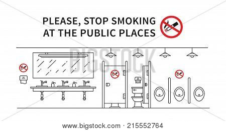 Public restroom no smoking vector illustration. Stop smoking sign at the public place line art concept.