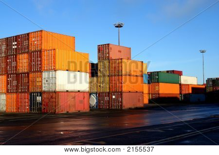 Containers In An Intermodal Yard