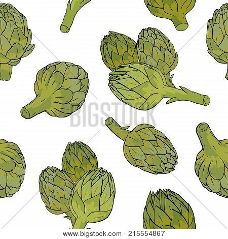 Seamless pattern with green artichoke flower buds or inflorescences hand drawn on white background. Backdrop with tasty cultivated vegetable, delicious vegan food ingredient. Vector illustration