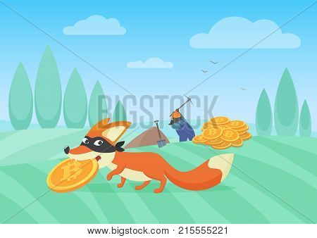 Vector illustration of cunning fox thief stealing bitcoin from hardworking miner. Bithoin money theft