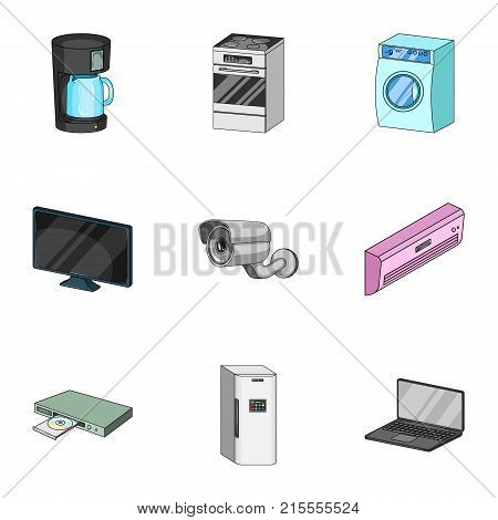 Kitchen appliances cartoon icons in set collection for design.Home appliances and equipment vector symbol stock  illustration.