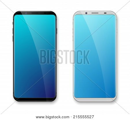 Realistic bezel-less smartphone Mockup white and black. Easy place image into screen smartphone with shiny layer. Vector cell phone isolated Front View Display. EPS 10