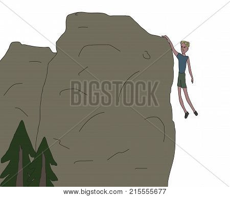 Young Men Hanging From The Rock Only One Hand Near Falling Off The Cliff Rough Scatch Vector Illustr