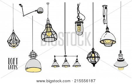 Collection of modern isolated loft lamps, vintage, retro style light bulbs. Hand drawn vector illustration