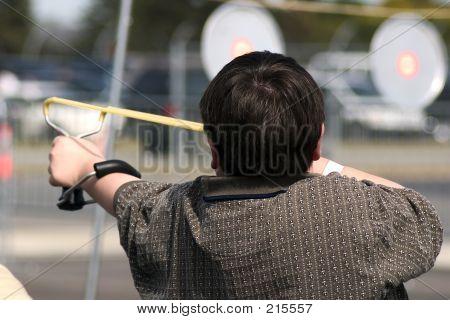 Boy Shooting Sling Shot