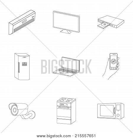 Kitchen appliances outline icons in set collection for design.Home appliances and equipment vector symbol stock  illustration.