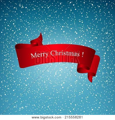 Snowfall Snow Falls from the Sky White Snowflakes on Blue Background with Red Ribbon Merry Christmas Vector Illustration