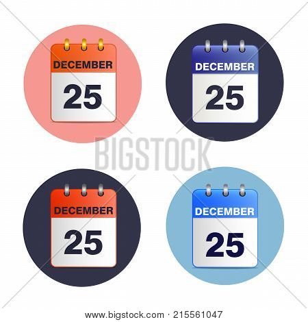 SSet of tear-off calendars. Date 25 December. Christmas vector illustration.  Sheet wall calendar. Suitable as separate icon or part of your design. Square location.