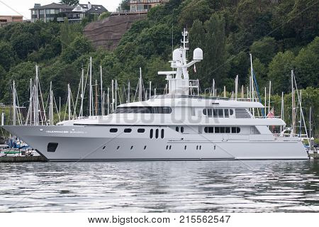 Luxury yacht at the dock in Seattle for maintenance.